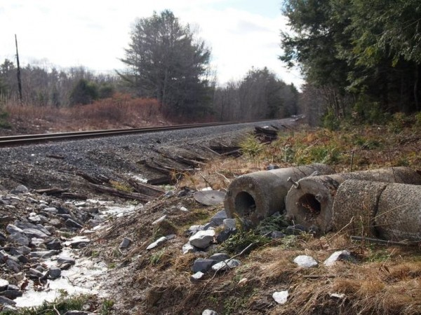 Rail upgrades for the expanded Downeaster train service left chunks of concrete debris and railroad ties along the tracks near the Upper Mast landing crossing in Freeport.