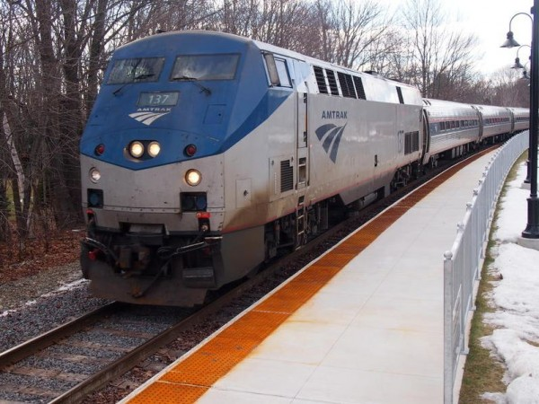 The Downeaster pulls into Freeport station on Friday, Feb. 1, 2013. Rail officials say debris left after the track was upgraded last year probably won't be cleaned up until late spring or summer.