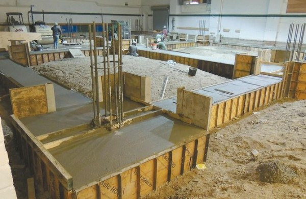 Concrete forms will anchor a central performance space, featuring more than 6,000 square feet of dance floor at the future Bowdoin College visual arts center in Brunswick.
