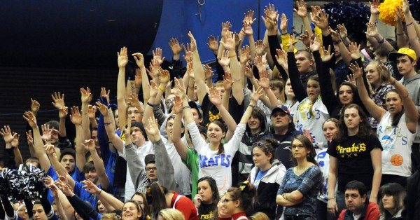 Piscataquis Community High School fans wave their hands during a foul shot attempt in the girls Class C quarterfinal game against Orono on Tuesday morning, Feb. 19, 2013, at the Bangor Auditorium. Orono won the game 45-40 in overtime.