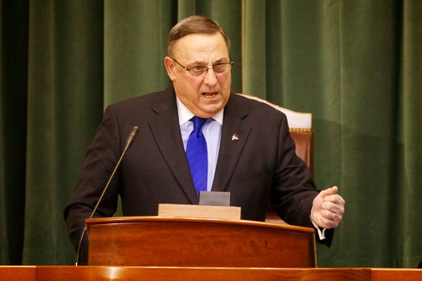 Maine Gov. Paul LePage delivers his State of the State address in in the house chambers in Augusta on Feb. 5, 2013.