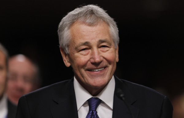 Former Sen. Chuck Hagel testifies during a Senate Armed Services Committee hearing on his nomination to be Defense Secretary, on Capitol Hill in Washington, in this January 31, 2013, file photo.