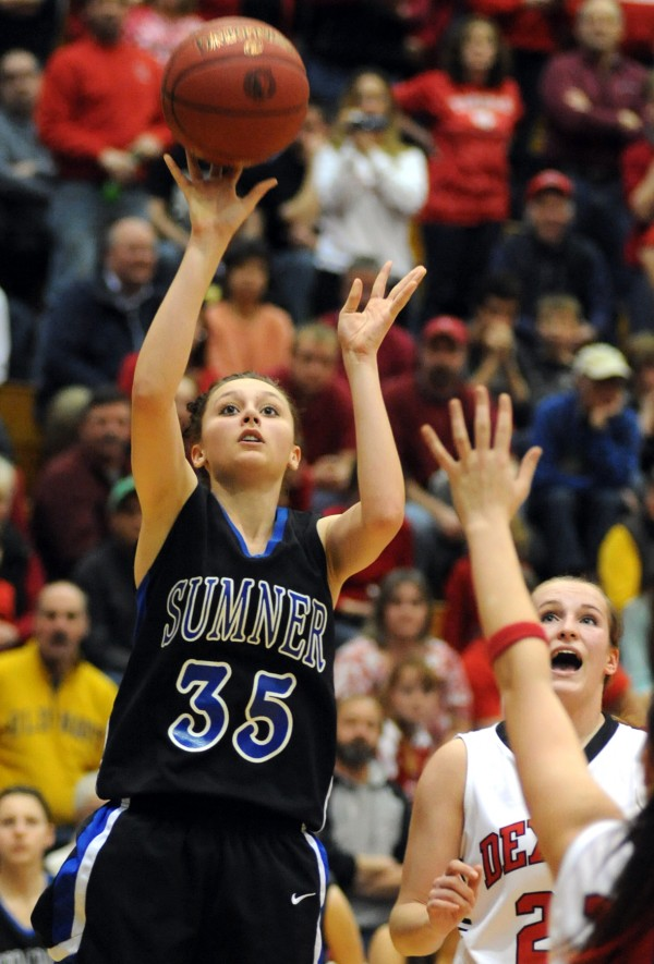 Sumner's Jordan Merchant takes a shot in second-half action of the Class C girls quarterfinal game against Dexter on Tuesday morning, Feb. 19, 2013, at the Bangor Auditorium.