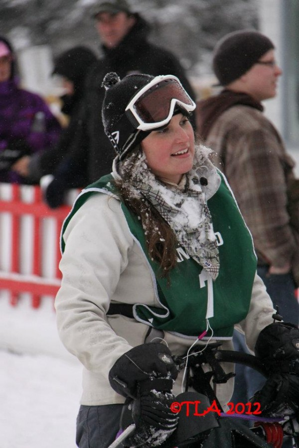 St. David musher Amy Dionne at the start of the 2012 Can Am Crown 60-mile race. This year Dionne, 23, is racing the Can Am Crown 30-mile race with her sister, 17-year-old Holly Dionne.