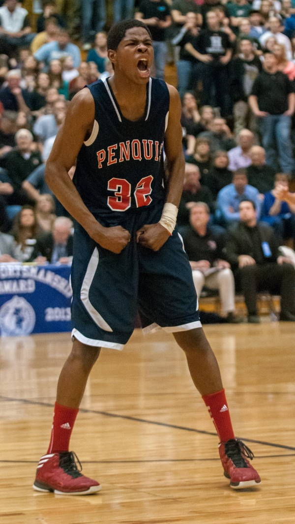 Penquis Valley's Isaiah Bess celebrates after hitting a basket right before the end of the first half against Houlton during the Eastern Maine Class C title game at the Bangor Auditorium on Saturday. Bess has been named the Eastern Maine Class C tourney MVP.