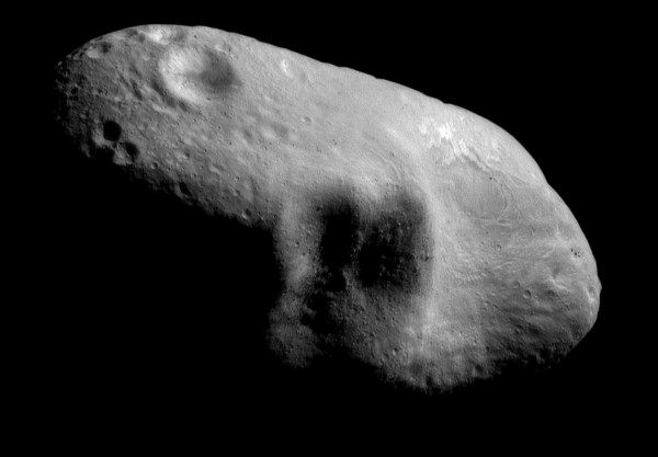 This March 3, 2000, image provided by NASA shows the near-Earth asteroid Eros from the NEAR spacecraft at a distance of 127 miles.