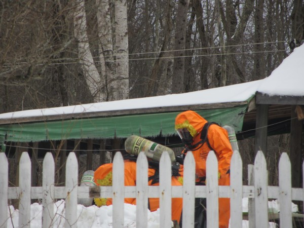 Members of the Maine Drug Enforcement Agency and other police agencies investigated a suspected meth lab at 542 St. George Road in South Thomaston on Tuesday.