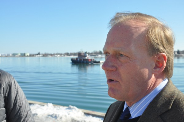 An Icelandic company, Eimskip, will begin in late March offering the first direct container shipping service Portland has had with Europe since 1980. Pictured here on Portland's waterfront is John Henshaw, executive director of Maine Port Authority, which helped broker the deal with Eimskip.
