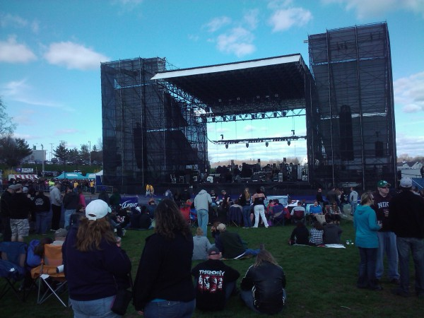 Concert-goers gather at the main stage at the Bangor Waterfront pavilion during the Bumstock music festival in April 2011.