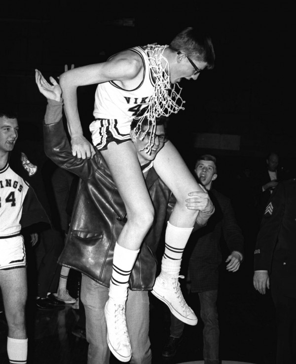 Caribou's Mike Thurston is carried off the floor at the Bangor Auditorium after his buzzer-beating shot lifted the Vikings by Wesbrook 65-63 in the Class LL state final on March 8, 1969 at the Bangor Auditorium.