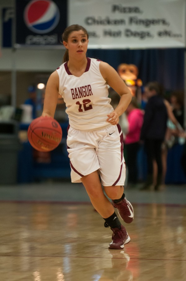 Bangor's Jordan Seekins brings the ball up the court during the first half against Skowhegan at the Augusta Civic Center on Friday, Feb. 15, 2013.