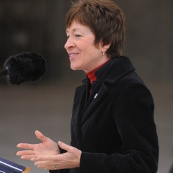 U.S. Sen. Susan Collins speaks during the opening ceremony of the new hangar at the 101st Air Refueling Wing base in Bangor in October 2012.