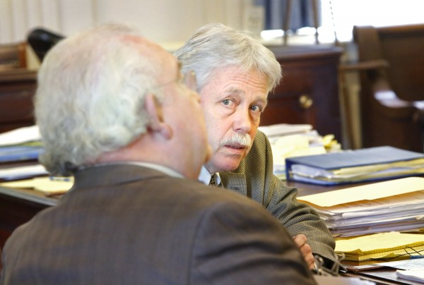 Mark Strong Sr. talks with his attorney, Dan Lilley, in York County Superior Court on Tuesday, Feb. 26. Attorneys for Strong argued that charges against Mark Strong Sr. should be dropped because prosecutors had failed to release key evidence before the trial that could have been used in Strong's defense.
