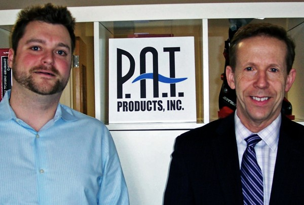 P.A.T. Products, a chemical distribution and manufacturing company that has been based in Bangor for 39 years, is moving its headquarters to New Hampshire to lower its business costs. Pictured are Leo Edward Coyle (left), the company's marketing manager, and Michael Bergeron, business development manager with the New Hampshire Division of Economic Development.