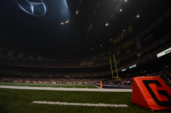 Power is out during Super Bowl XLVII between the San Francisco 49ers and the Baltimore Ravens at the Mercedes-Benz Superdome.