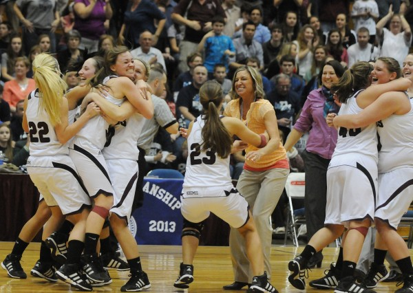 Nokomis' girls basket ball team celebrate their win over Camden Hill's 45-40 on Wednesday, Feb. 20, 2013, at the Bangor Auditorium during class B tourney action.