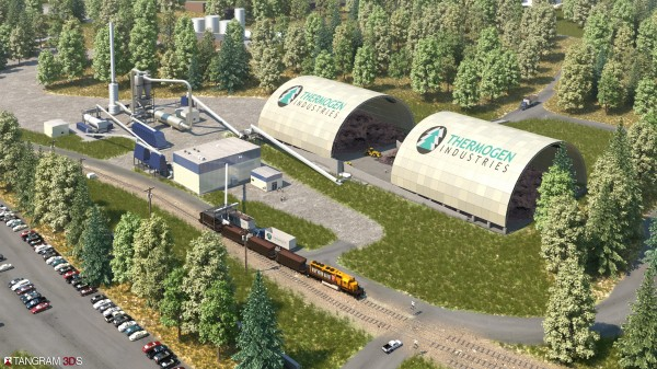 This rendering, provided by Thermogen, depicts the approximate design of what the torrefied wood pellet plant in Eastport would look like.