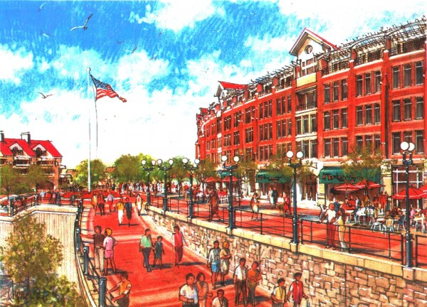 A design for waterfront development presented to the city of Bangor by Maryland-based Hunter Interests Inc. in 2001.