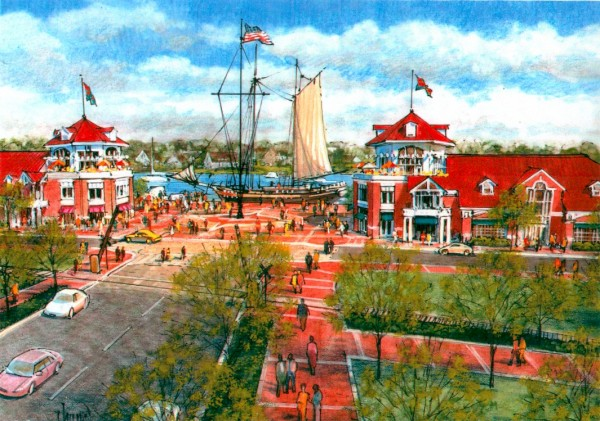One of Maryland-based Hunter Interests Inc.'s designs for Bangor's waterfront development in 2001 included restaurants, shops and a tall ship to be used as a children's play area.