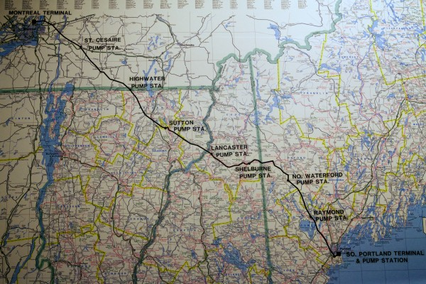 A map on the wall at the Portland Pipe Line Corporation in South Portland shows the pipeline route to Montreal Friday, Feb. 1, 2013.