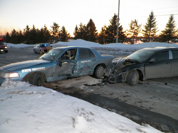 Maine State Police trooper Shawn Whalen was injured in a two-car accident late Monday afternoon when he tried to turn in the road to reverse direction on Route 1. The cruiser was struck in the driver's side door. Both vehicles were totaled and Whalen was flown to Eastern Maine Medical Center in Bangor to be treated for a hip injury. The driver of the Dodge Stratus suffered a minor injury to his hand, and a police dog traveling with Whalen was not injured.