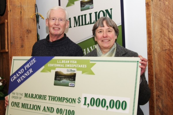 L.L.Bean celebrated its 100th anniversary on Friday by awarding $1 million to Marjorie Thompson of Cumberland (she's joined in the photo by her husband Richard), the grand prize winner of the L.L.Bean Visa Centennial Sweepstakes by L.L.Bean and Barclaycard US.