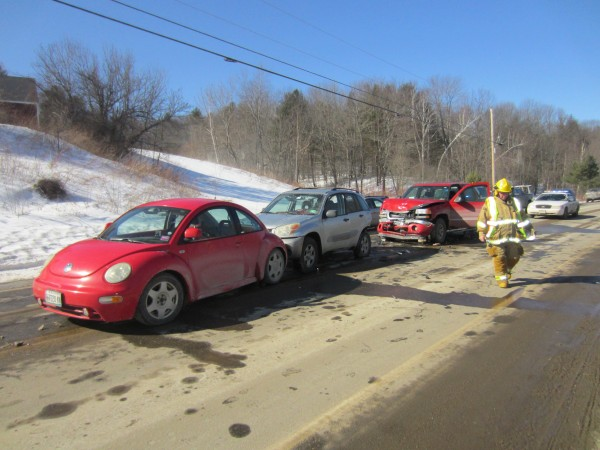 Two men were hospitalized Monday morning with non life-threatening injuries after the driver of a truck crashed into a line of stopped cars near a construction zone on Route 136. Deputy Jon Guay of the Androscoggin County Sheriff's Office said the driver was blinded by the sun and did not realize he was coming onto construction. Durham Fire and Rescue responded, along with ambulances from Freeport and Lisbon. The road was shut down for about an hour.