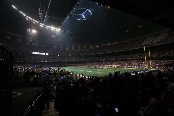 General view of the power outage during the third quarter in Super Bowl XLVII between the San Francisco 49ers and the Baltimore Ravens at the Mercedes-Benz Superdome.