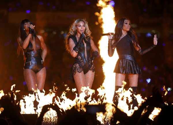 Beyonce (center) and Destiny's Child perform during the half-time show of the NFL Super Bowl XLVII football game.