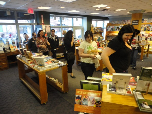 Customers browse the selection inside Longfellow Books in Portland in March of 2012. The store was forced to close due to damage suffered during the weekend's blizzard.