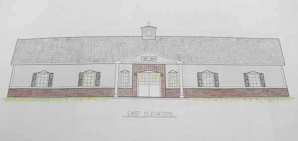 The sketch plan of a proposal for a new town office and library in Otis, drawn by J.M. Brown Construction in Hermon, is available for inspection at the town office.