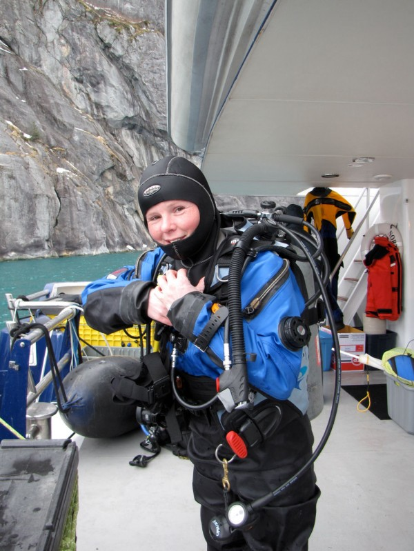 Rhian Waller, an assistant research professor with the University of Maine, prepares to dive in the Southeastern Alaskan fjords in March 2011.