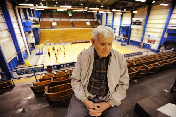 Ed Lovejoy, a former building inspector, sits in the Bangor Auditorium on Tuesday, Feb. 26, 2013. Lovejoy was the inspecctor for the building when it was being built in 1955. The new Cross Insurance Center is replacing the old Bangor Auditorium this spring.
