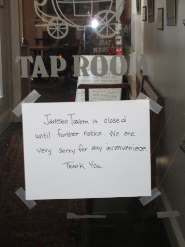 Jameson Tavern, the downtown Freeport pub that first opened in 1801, suddenly closed &quotuntil further notice&quot on Friday.