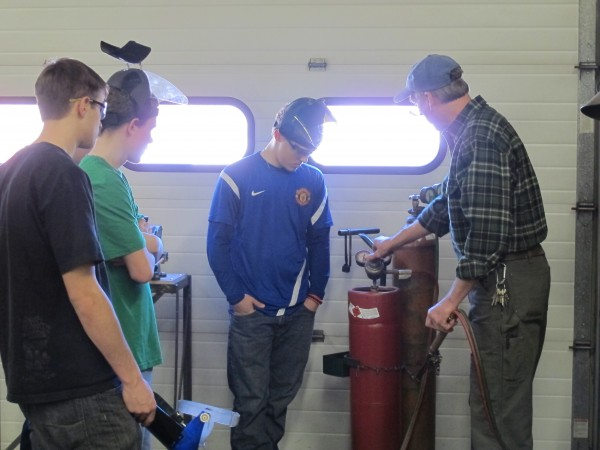 Dennis Saindon, industrial arts instructor at Deer Isle-Stonington High School, teaches students about the acetylene torch on Feb. 25, 2013.