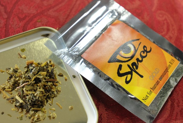 A synthetic form of marijuana known as Spice, K2 or Acapulco is displayed at a Bangor store. These products are currently legal in Maine, and are popular with young people seeking a high. The dried herbs sprayed with chemicals in a three gram package sells for $25.