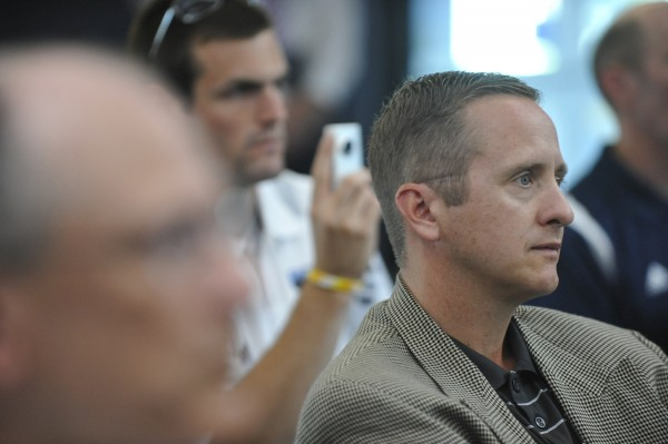Blake James (right) and others listen to Steve Abbott after he was introduced as the University of Maine's interim athletic director, succeeding the departing James in August 2010. James was named the University of Miami's athletic director Friday.