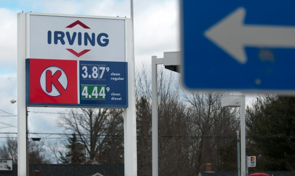 Gas cost $3.87 a gallon on Wed., Feb. 20, 2013, at the Irving gas station on Main Road in Hampden. Tightening supply, speculation in the market, and a weak U.S. dollar have sent gas prices to the highest level ever posted during the month of February.