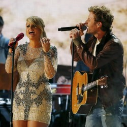 Miranda Lambert and Dierks Bentley perform at the 55th annual Grammy Awards in Los Angeles on Feb. 10, 2013.