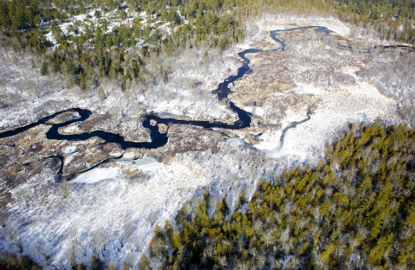 An aerial view over scenic areas of Wildlife Management District 19 in Hancock County in January 2013.
