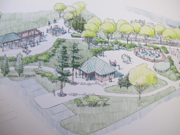 This drawing from Archipelago Landscape Architects shows a waterpark feature at right, next to a restroom facility. At top, a small fountain marks the entrance to the park, near a scaled-down gazebo.