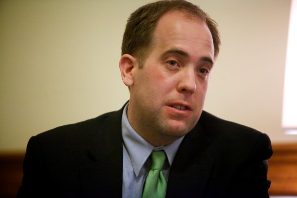 Maine Senate Majority Leader Seth Goodall, D-Richmond speaks during a press conference Tuesday Feb. 5, 2013.