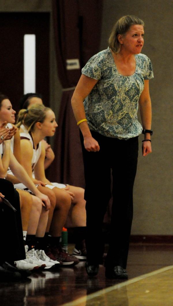 Bangor's coach Katie Clark Herbine shouts to her team during a game on Jan. 26.