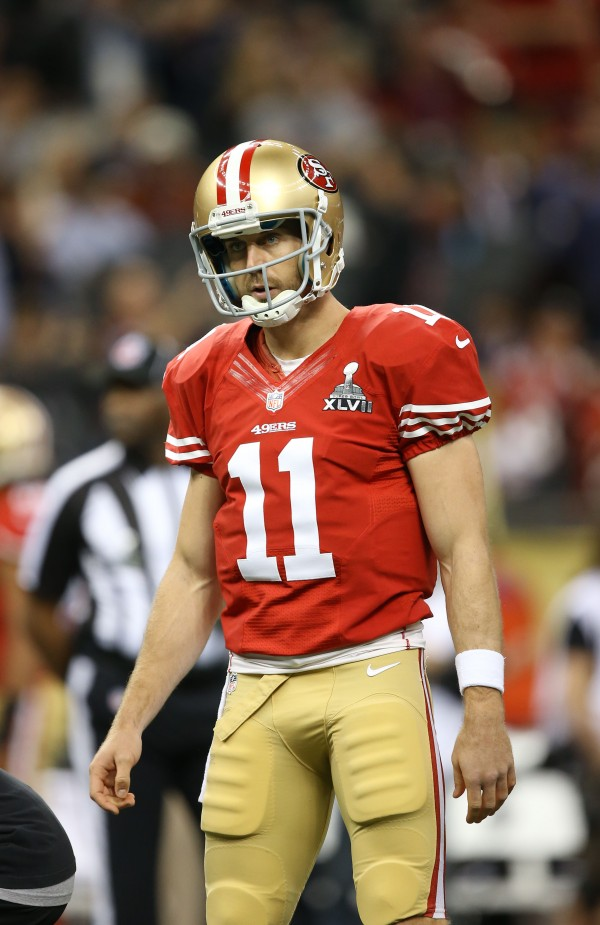 San Francisco 49ers quarterback Alex Smith before Super Bowl XLVII against the Baltimore Ravens at the Mercedes-Benz Superdome.