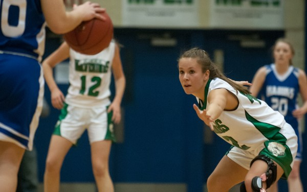 Schenck's Ashley Leavitt (right) plays defense against Hodgdon at the Bangor Auditorium on Thursday, February 21, 2013.