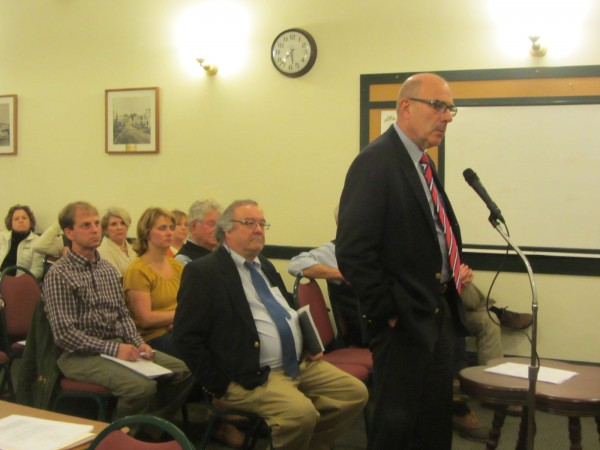 H. Thompson Rodman speaks before the Camden Planning Board Wednesday night at an informational meeting.