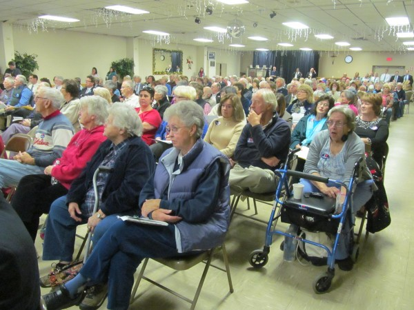 Hundreds of people turned out on Wednesday, October 24, 2012, at the Knights of Columbus Hall in Brunswick, for a Department of Health and Human Services hearing on a proposed merger between Parkview Adventist Medical Center and Central Maine Healthcare.