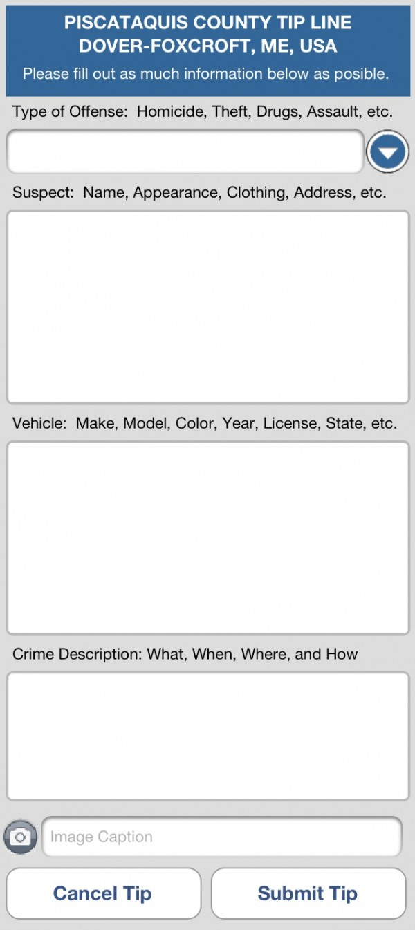 An example of a crime tip form on the TipSubmit mobile app for iPhone.