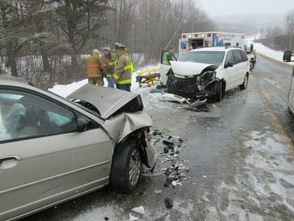 Emergency personnel responded to a head-on crash in which three people were injured Monday afternoon on Route 17 in Hope.