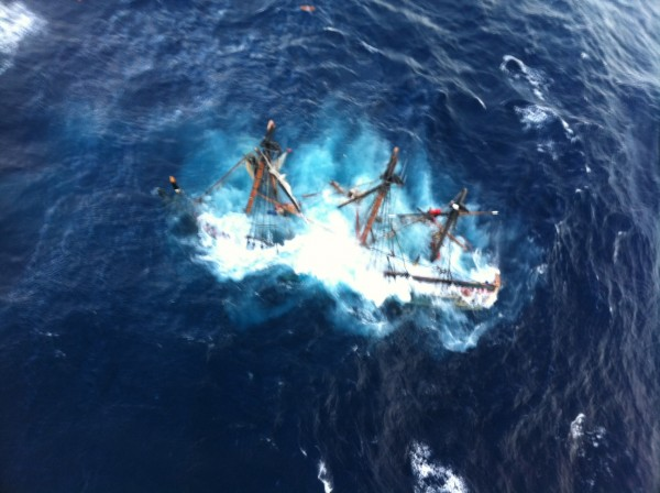 The HMS Bounty, a 180-foot sailboat, became submerged in the Atlantic Ocean during Hurricane Sandy, approximately 90 miles southeast of Hatteras, N.C., Monday, Oct. 29, 2012.